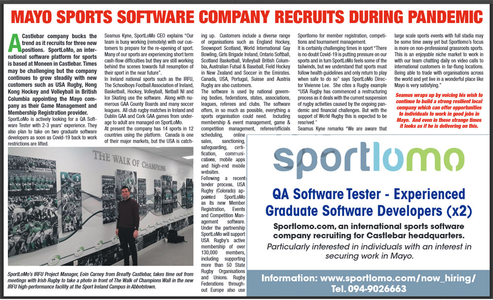 Sportlomo-recruits-during-pandemic, QA Tester and Dev Grads