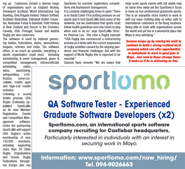 Sportlomo recruit QA software tester and grad developers